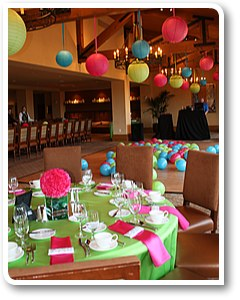 room decor in lime green and pink